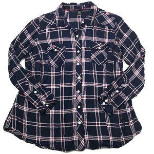 Torrid Plaid Twill Button-Front Camp Shirt